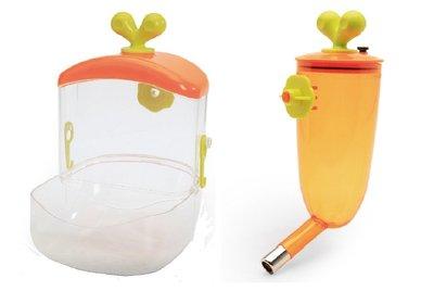 【愛思沛】胡蘿蔔造型飼料槽+飲水器 組合價399元