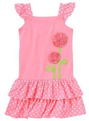 17@☆蠍蠍傳說Gymboree Ruffle Flower Polka Dot Dress小飛袖背心洋裝(10-12T