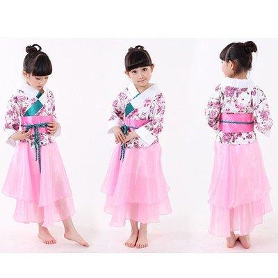 5Cgo【鴿樓】會員有優惠 530315082587 兒童日本和服裙子女童民族舞台演出服舞蹈服日式櫻花舞蹈表演服裝