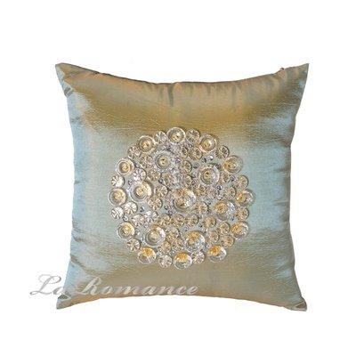 【La Romance 芮洛蔓】Enos 系列 - 晶亮縫珠抱枕 -金綠 (小)  / 腰枕 / 靠枕 / 靠墊