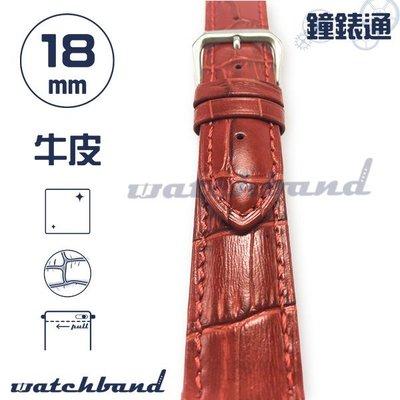 【鐘錶通】C1-30AR《簡約系列》大花鱷魚紋-18mm 寶石紅 (手拉錶耳) /手錶錶帶/大花鱷魚紋/牛皮錶帶/