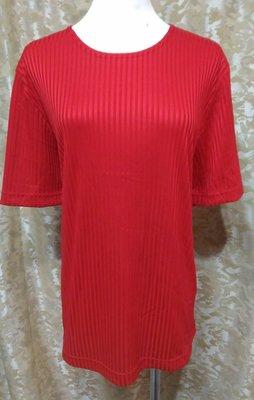 ~麗麗ㄉ大碼舖~大尺寸XL-XXL(46-48吋)駝可 粉桔 白 深藍 水藍 紅色條紋布圓領短袖彈性上衣~
