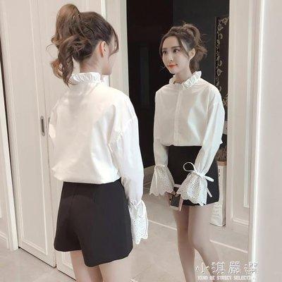 哆啦本鋪 2019春裝新款韓版木耳邊立領長袖白襯衣寬鬆繫帶喇叭袖上衣襯衫女 D655