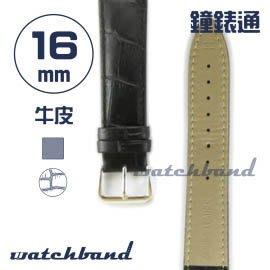 【鐘錶通】C1.10AA《霧面系列》鱷魚格紋-16mm 霧面黑┝手錶錶帶/皮帶/牛皮錶帶┥