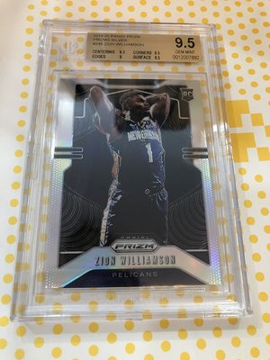 2019-20 NBA Panini Prizm 鵜鶘隊 Zion Williamson 新人銀亮卡 鑑定9.5級