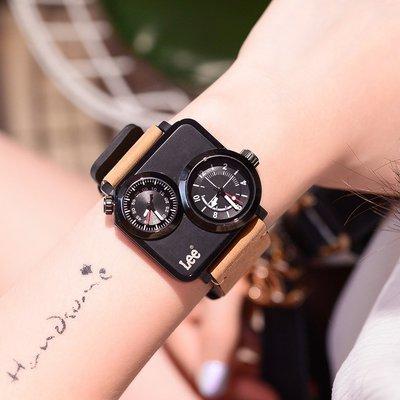 Cigade電子專營2021年新款正品美國潮牌Lee手錶男女中性方形雙機芯計時手錶女士