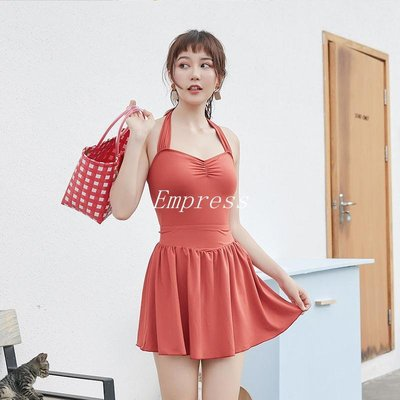Empress丶昱浪舒 新款連身裙式保守遮肚復古性感二件套度假溫泉游泳衣