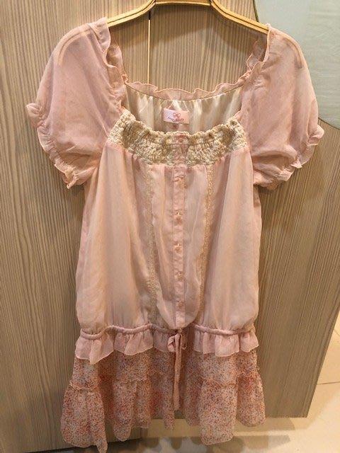 小花別針、百貨專櫃【IRIS GIRL】粉色雪紡短袖洋裝