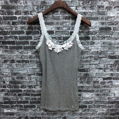 Maple麋鹿小舖 Abercrombie&Fitch * A&F 灰色蕾絲珠珠上衣 * ( 現貨M號 )