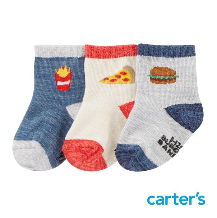 Carter's 卡特 美國童裝 男寶寶 嬰兒襪 兒童襪 寶寶襪 // 美式食物* 3件組