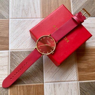 【全球精品代購鋪】COACH 牛年限量款 紅色真皮錶帶 石英手錶 腕錶 女錶 購美國代購Outlet專場可團購