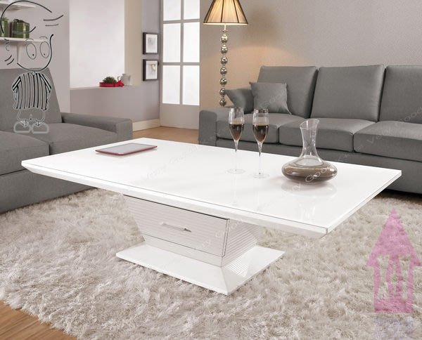 【X+Y時尚精品傢俱】 現代客廳系列-哈密斯 大茶几.鏡面鋼琴烤漆.烤漆白色玻璃.摩登家具