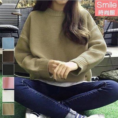 【V2581】SMILE-原宿風.百搭純色圓領寬鬆長袖毛衣上衣