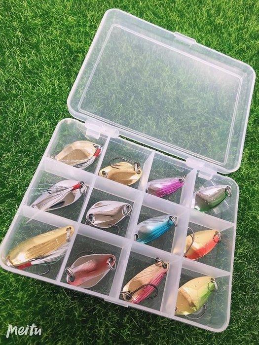 《屏東海豐》~特價~ 高級外銷款 3g 湯匙 亮片 12件精品路亞餌套裝 附贈收納盒
