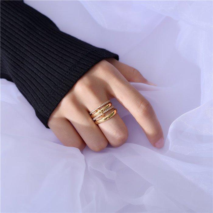 BN 歐美閃亮鋯石鍍金四環戒指
