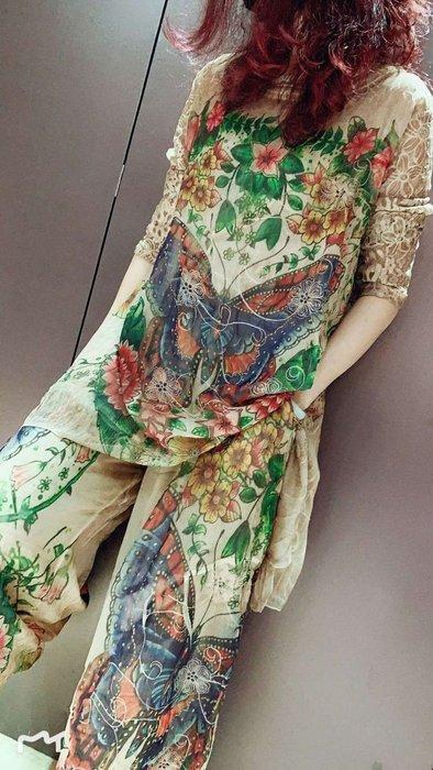 *菇涼家*019新品女復古风做旧初春套装蕾丝拼接蝴蝶印花長裤两件套