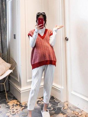 套裝 夏裝 寬鬆孕婦裝2019春裝新款韓版v領毛衣馬甲兩件套潮媽純棉打底衫