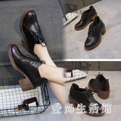 中大尺碼牛津鞋 新款復古英倫系帶圓頭擦色小皮鞋中跟單鞋粗跟牛津鞋 AW15085