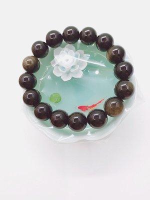 天然晶石 【 有帶彩虹眼的黑曜石 手鏈手鍊】 創意時尚飾品開運旺運招褔