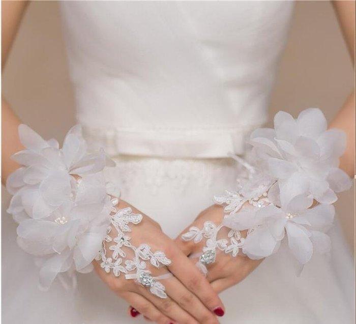 韓式新娘手套白色結婚婚紗長款蕾絲繡