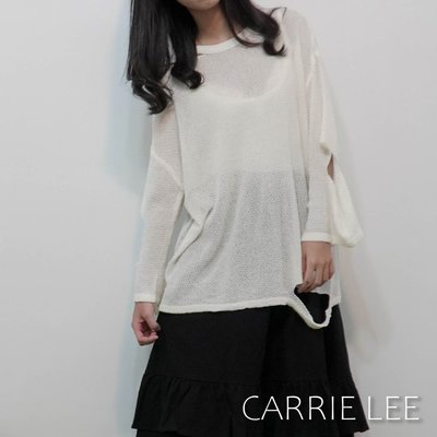 【XX現貨】街頭慵懶透視破洞針織上衣 白,棕【09.16】Carrie Lee INN-JR0058