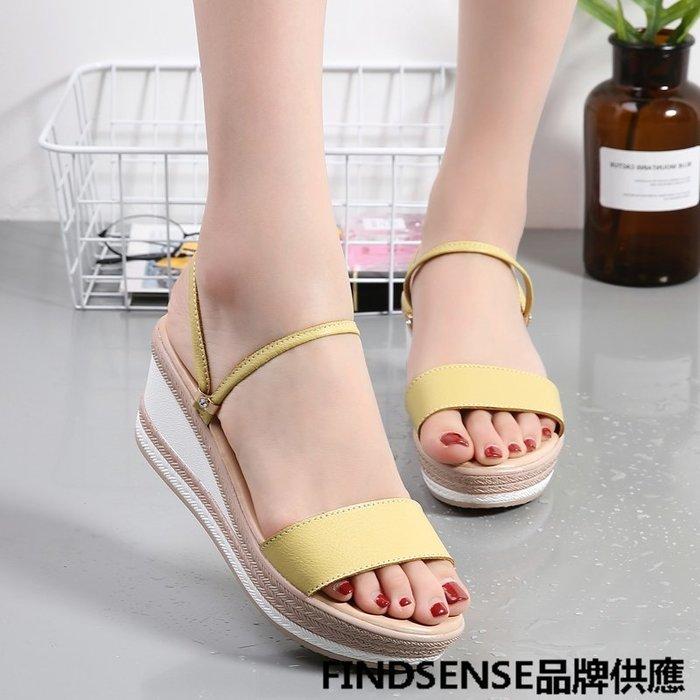 FINDSENSE品牌 新款 日本 女 高品質 真皮 簡約一字帶 厚底增高 坡跟 舒適 時尚涼鞋 休閒鞋 潮流鞋子