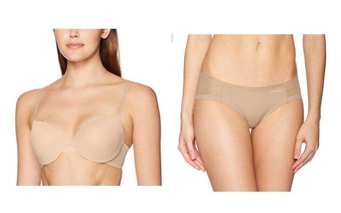 (成套) 全新真品 Calvin Klein 膚色網紗肩帶可變化胸罩34c+同款平口內褲M ck 內衣