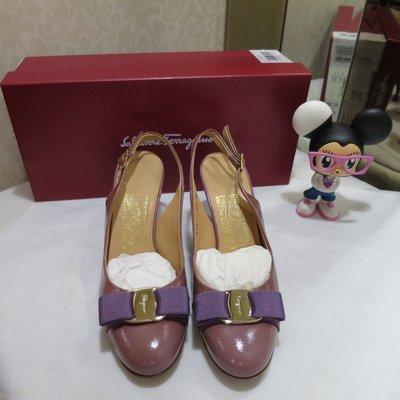 Salvatore Ferragamo  未使用 真品 藕紫色 蝴蝶結 高跟 涼鞋 尺寸 5.5 現貨