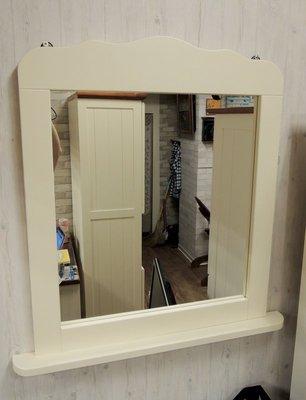 實木白色掛鏡 象牙白壁鏡 白色鏡台 白色玄關鏡子 梳妝鏡 化妝鏡 桌鏡 鏡框全原木上漆(象牙白)