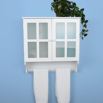 【易發生活館】帶毛巾桿衛生間壁櫃掛櫃 浴室玻璃門吊櫃儲物櫃 田園櫃浴室櫃