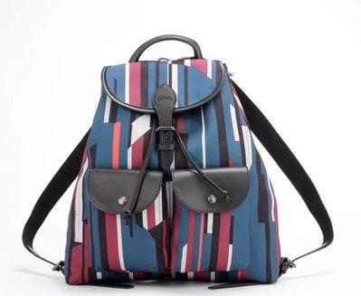 微瑕低價出清!法國 Longchamp Prismatic系列 雙肩包彩色條紋大後背包
