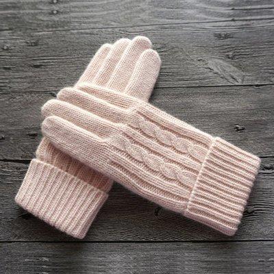 新品上市#秋冬新品女士羊毛毛線針織雙層加厚加絨觸屏戶外保暖手套