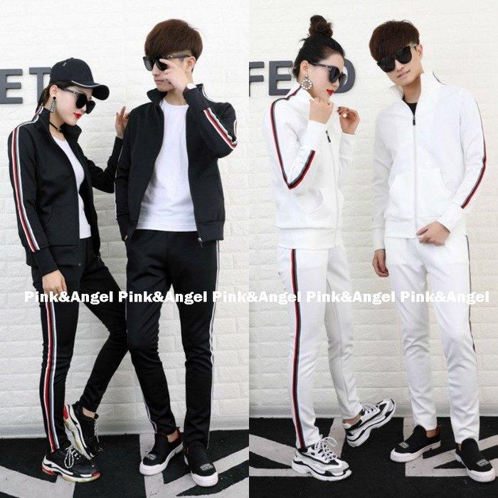 ❤Pink&Angel❤【33380】新款修身顯瘦男女 薄立領外套+鬆緊長褲兩件式套裝 個人。3色。現+預