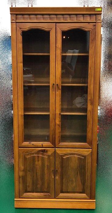 【宏品二手家具館】中古HM3062AB*幸福香樟長玻書櫃* 書架 書櫥 高底櫃 展示櫃 收納櫃 中古傢俱拍賣電視櫃