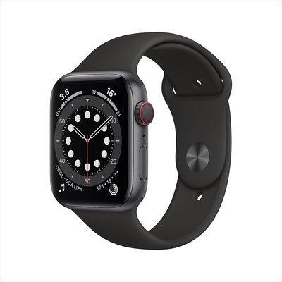 【免卡分期】蘋果 Apple Watch Series 6(GPS) 44mm太空灰鋁金屬錶殼+黑色運動錶帶 現貨