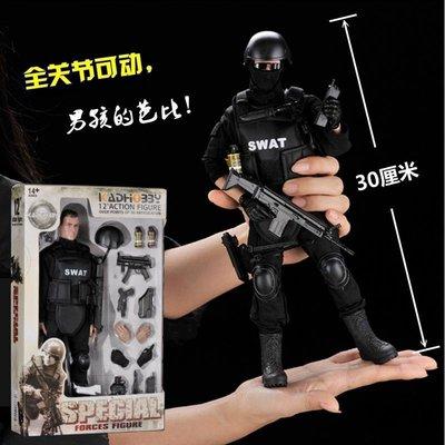 1/6 SWAT特警兵人模型 警察士兵玩偶可動手辦 男生玩具創意禮物