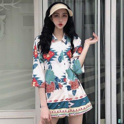 新款夏季花襯衫女復古寬松港味七分袖設計感防曬衫度假風上衣