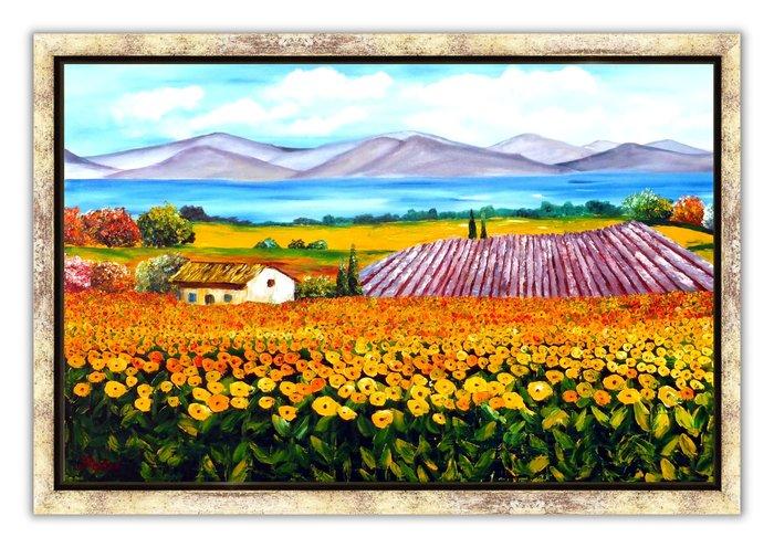 藝術之都:手繪創作油畫  田園美景向日葵花田 含內框30F作品 已完成作品實品拍攝 rose
