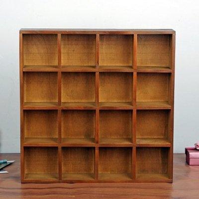 zakka雜貨 鄉村田園風復古簡約 木製4層16格櫃置放層架盒 原木製桌上小物文具置物收納盒 小物多 裝飾四層格木櫃