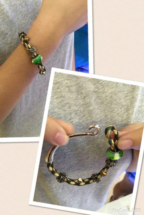 【江南小舖】 正韓-皮繩鑲寶石骷顱頭金屬釦環