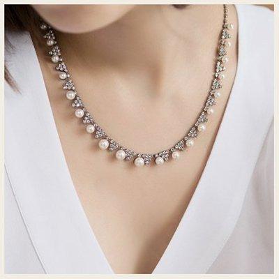 低調奢花珍珠美鍊項鍊。韓國空運飾品。SS0805!STYLEON!【cgne003】