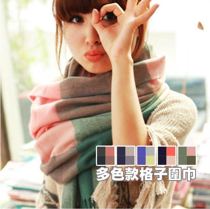 韓國現貨直送 冬季日系保暖仿羊絨柔軟抗寒流蘇格子百搭復古情侶圍巾 格子圍巾