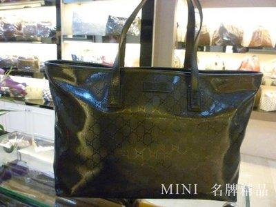 ::MINI名牌精品店:: GUCCI 211120 黑色 PVC 亮皮 漆皮 拉鍊購物包 (大)肩背包 全新