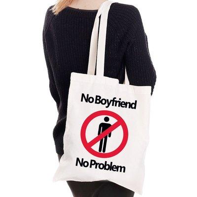 No Boyfriend No Problem帆布袋文藝環保購物袋單肩手提包袋-米白色 情侶情人禮物 特價$390