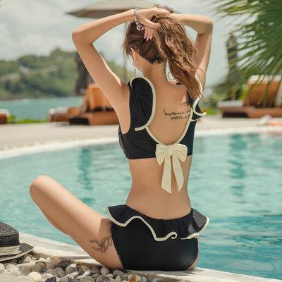 DR韓國泳裝~甜美少女荷葉邊分體泳衣女2021年夏季新款正韓比基尼聚攏溫泉游泳