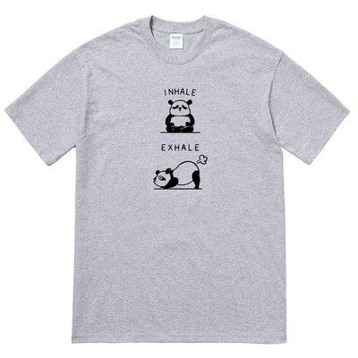 PANDA INHALE EXHALE 短袖T恤 2色 熊貓動物趣味幽默吸氣呼氣