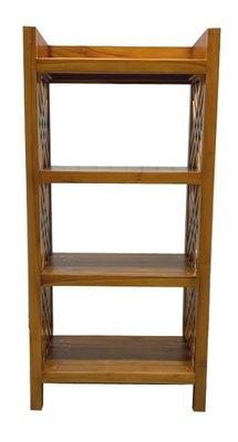 全新庫存家具買賣 二手家具買賣推薦 新竹地區免運 HM017FF*新四層柚木置物架 書櫃*櫥櫃 收納櫃 高低置物櫃 餐桌