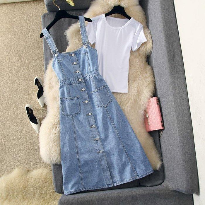 牛仔洋裝 半身裙 A字裙 牛仔連衣裙兩件套氣質修身顯瘦雙口袋背帶裙百搭T恤
