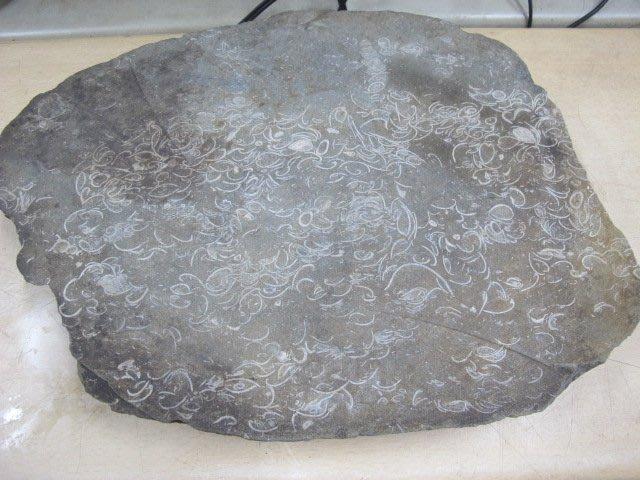 二手舖 NO.3239 天然貝殼化石 石墊 茶盤 居家擺件