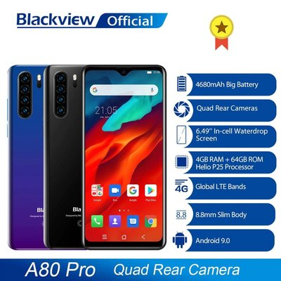 "Blackview A80 Pro 6.5"" 4+64GB Quad Camera 4G 1 year warranty"